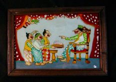 Traditional glass painting Wayang Kulit, from Solo school - Java - Indonesia