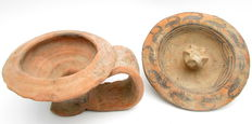Lot of 2 Indus Valley Painted Terracotta Bowls - Plate and Goblet - Zoomorphic Motifs (2) 120 x 35mm (plate); 120 x 55mm (Goblet)