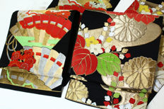 Two Silk Fukuro Obis with Flower pattern - Japan - early 20th century