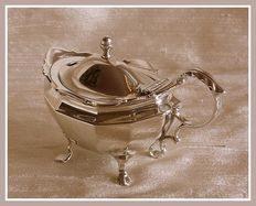 Sterling silver massive Edwardian mustard pot with blue liner, Goldsmiths & Silversmiths Co Ltd., London, 1909 and a silver spoon, James Dixon, Sheffield, 1918