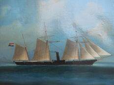 Painting on linen - Screw Schooner with Dutch ensign - not signed - 19th century