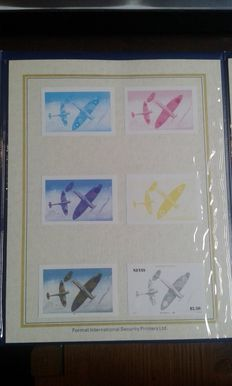 Nevis 1986 – official booklet of the airplane series in Proof Card