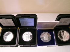 The Netherlands - 10 guilder 1973, 1994 and 1996 + Ducat 1989 (4 pieces) - silver