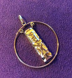 "Very nice Tahitian pendant ""TIKI"" in yellow gold, dimensions: 40 mm x 31 mm"