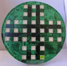 Fine, hand-crafted Malachite Game Board - 24,5cm - 1060gm
