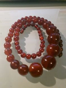 Cherry red Bakelite amber necklace