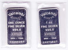 2 silver bars of 1 troy ounce Valcambi (2 different types)