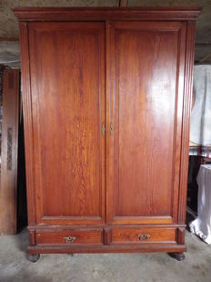 Pitch pine cabinet with 2 doors and 2 drawers, Belgium, mid twentieth century
