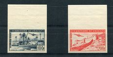 Fezzan - 1951 - Air mail with no perforations - Sassone n. A3/4