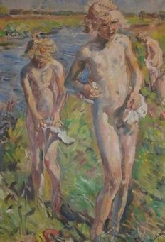 Erasmus B. van Dulmen Krumpelman (1897 - 1987) - Children swiming