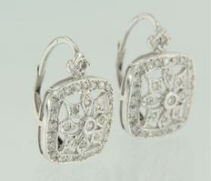White gold dangle earrings of 14 kt set with single cut diamonds for a total of approx. 0.36 carat ***No reserve price***