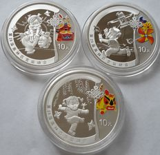 China - 10 Yuan 'Beijing Olympic Games - Chinese Children' 2008 (lot of 3 coins) - Silver