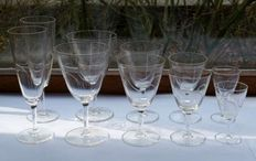Vintage cut crystal glass tableware 47 pieces