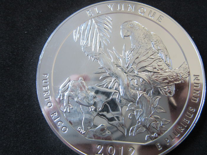 PUERTO RICO 2012 El Yunque America The Beautiful ATB 5 oz .999 Fine Silver Bullion Coin