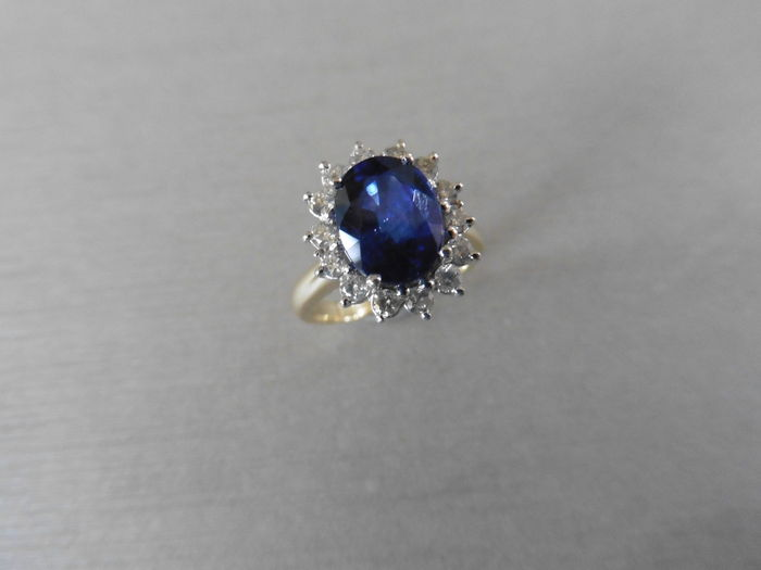 18k Gold Sapphire and Diamond Cluster Ring - size 52