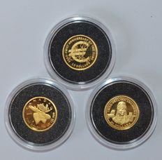 Nauru, Canada - 10 dollars 2003, 50 cents 2004 (3 coins in total) - 1/25 oz gold