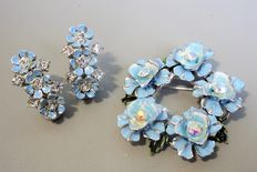 Signed CORO -  Flower Brooch and Earring  Silver Tone