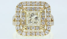 3,07 Carat H VS2 Princess Square Diamond Engagement Ring - 14kt gold