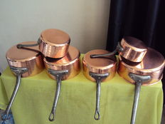 Set of five pans in very thick hammered copper, tinned interior + one large skillet