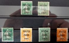 "France 1920/1921 - Pre-cancelled ""Paris"" sowers, signed by A. Brun and JF Brun - from Yvert #24 to 29"