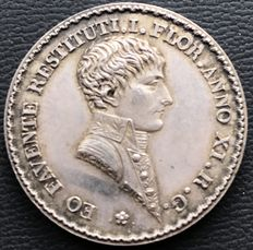 France - Napoleon I - Token 'Agents of Change of Lyon' 1803 by Mercié - Silver