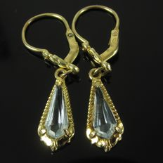 Antique gold earrings with aquamarine blue spinel