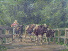 Leopold Wenzel (1885 - 1972) - Young Cattle Farmer's Wife When Driving