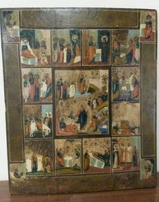 "Russian icon of ""The twelve great feasts of the liturgical year"" - 19th century"