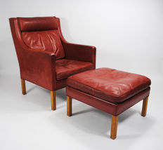 Børge Mogensen for Frederica, armchair (model 2431) and ottoman (model 2202)