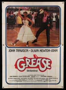 "Grease 1978 - Original Vintage Italian Folded ""Two-panels"" Movie Poster 140 X 198 cm"