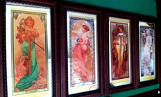 The Four Seasons, Alphonse Mucha, 4 Framed Mirrors, Mid XX century