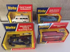 Dinky Toys - Scale 1/43 - Lot with Rolls Royce No.124,Hesketh 308E No.222, Routemaster Bus No. 289 and Ford Transit Ambulance No.276