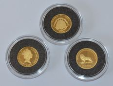 Liberia, Congo, Cook Islands - 10 dollars, 20 Francs 2000-3 x 1/25 oz gold