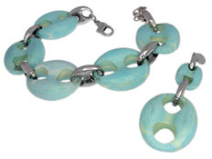 Luxenter - Sterling silver bracelet and pendant with turquoise