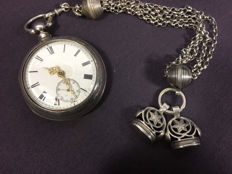 English pocket watch with double case, silver Dutch signet chain - No reserve