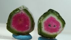 Watermelon Tourmaline Slices Pair - 14.10 cts (2)