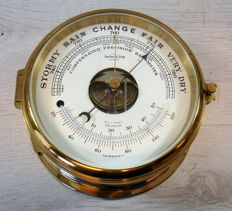 Round ships barometer thermometer combo in yellow brass