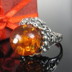 Amber bead sterling silver ring, handmade 1999
