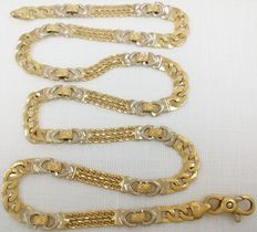 Yellow and white 18 kt/750 thousandths gold choker. Weight: 22.35 grams.