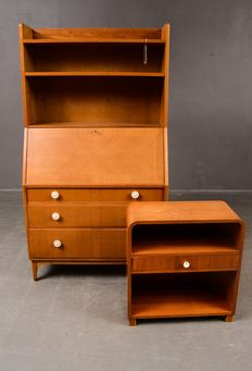 Unknown designer – Scandinavian designer secretaire with cabinet