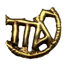Important Medieval Golden Plaque wit the Monogram ΠΑΛ of Paleologus Dynasty - 15 mm