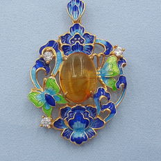 925 sterling silver enamel and natural Baltic Amber pendant,  8.8 g