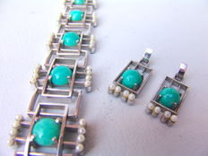 Bracelet and earrings – silver with amazonite and small seed pearls