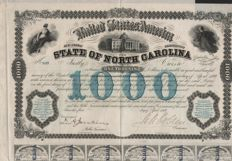 State of North Carolina 1869 - 6% Bond $ 1000 - DEKo