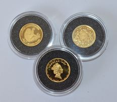 Latvia, Tokelau, Uganda – 10 Latu 1997, 10 dollars 1999, 1000 shillings 1999 – 3 x 1/25 oz gold
