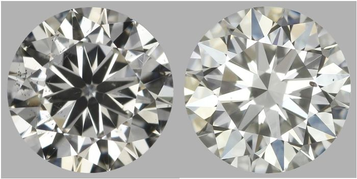 Pair of Round Brilliant Diamonds I-SI1 &H-SI1  total 1.01 ct EGL USA serial #168-181 original image-10x