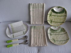 5 Asparagus dishes and salad (lettuce) place setting