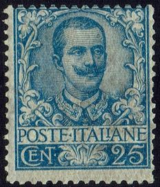 Kingdom of Italy, 1901 - Floral - Portrait of Vittorio Emanuele III - 25 cents, light blue (73).