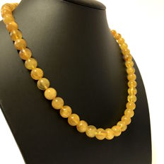 Necklace of Baltic amber egg yolk/butterscotch, polished, 32.3 grams