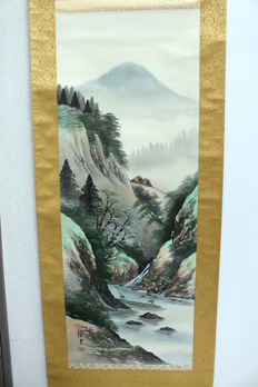 A decoratve scroll painting on silk landscape scenery - Japan - late 20th century